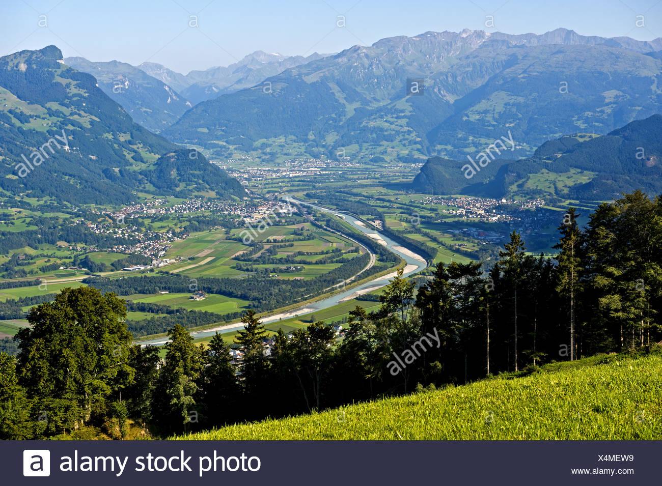 Rhine valley near Balzers, Liechtenstein Stock Photo