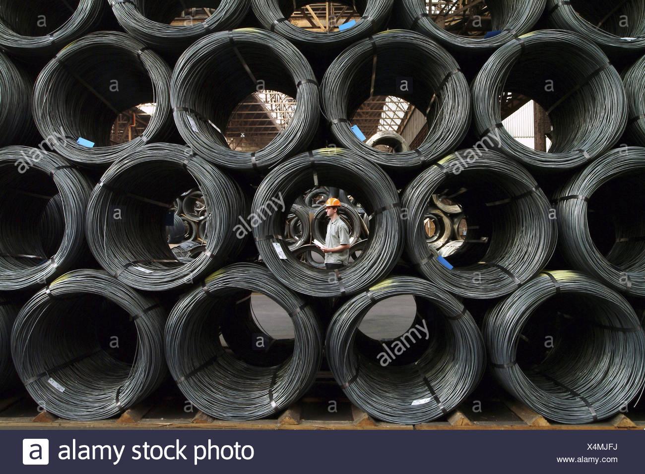 Germany, Saarbrucken-Burbach, Saarstahl Ag, wire warehouse, Europe, Saarland, industry, steel industry, ironworks, economy, branch industry, steel processing, production, production, wire, wire production, storage, rolling, wire coils - Stock Image