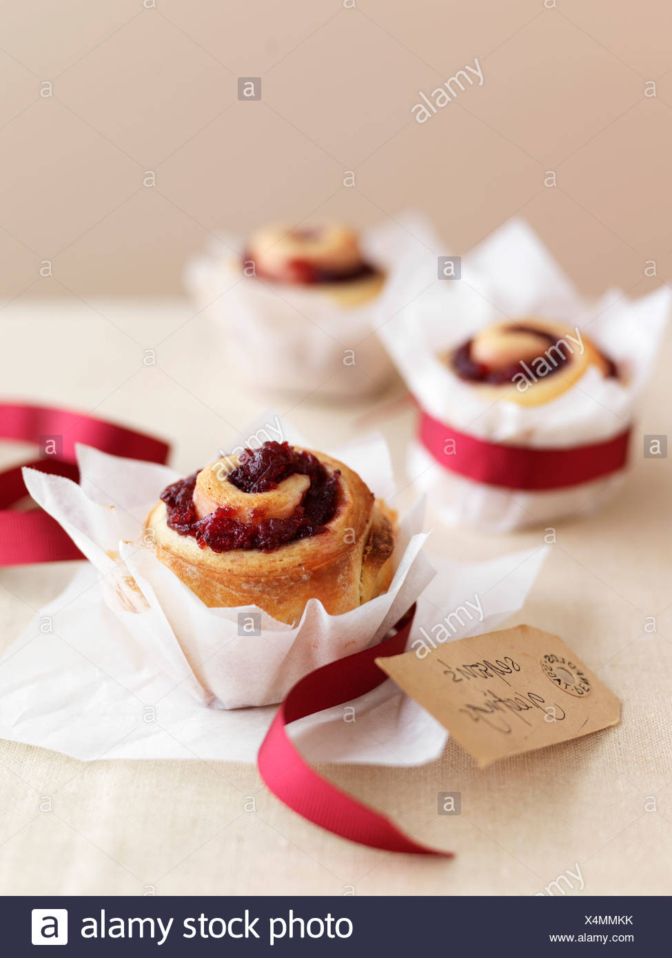 Redcurrant jelly pastry rolls Stock Photo