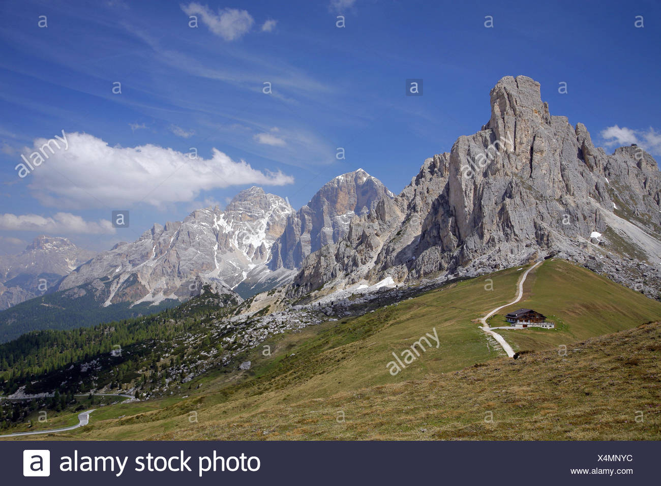 Italy, South Tyrol, the Dolomites, Passo Giau, Ra Gusela, Tofana, - Stock Image
