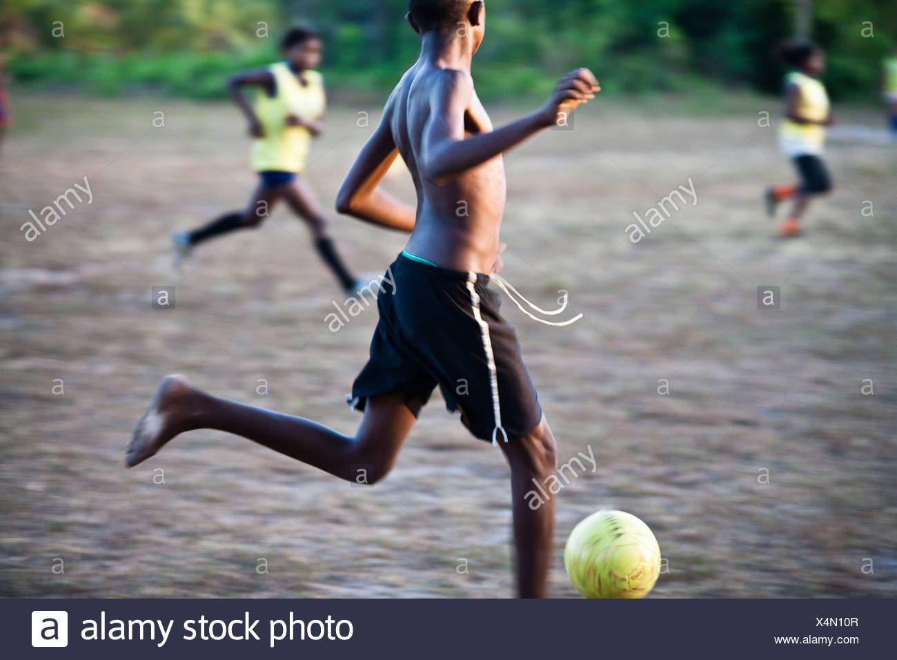 Countryside Brazil soccer. In Brazil black boys with remarkable talent for football usually have the nickname of Pelé. - Stock Image