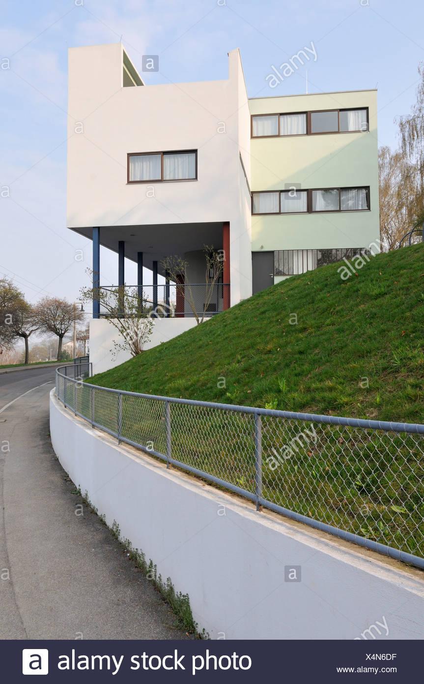 Weissenhofsiedlung Estate Stuttgart, duplex Rathenaustreet 1-3, Le Corbusier, Pierre Jeanneret, Baden-Wuerttemberg, Germany - Stock Image