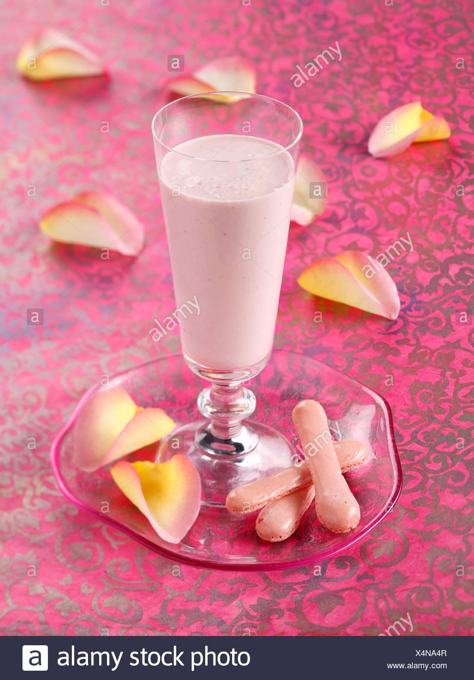 Rose water and strawberry milk shake - Stock Image