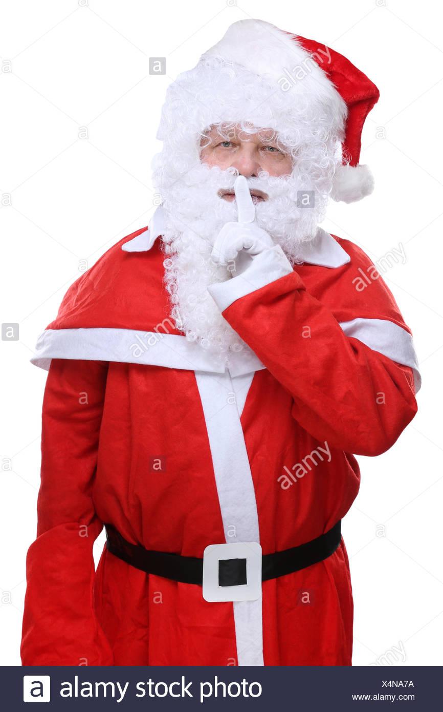 Weihnachtsmann Nikolaus Weihnachten Geheimnis freigestellt vor einem weissen Hintergrund Stock Photo
