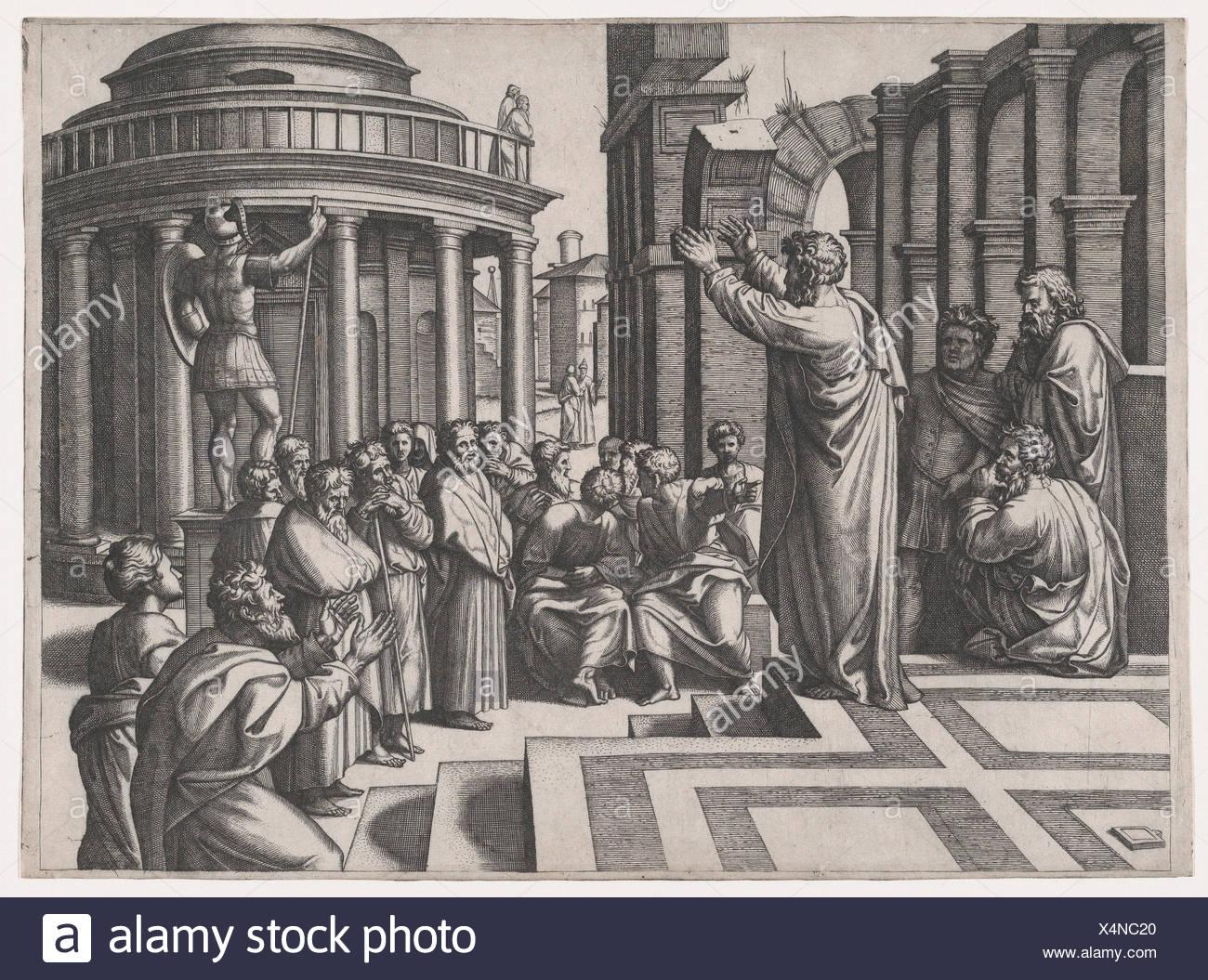 Saint Paul preaching in Athens, after Raphael. Artist: Marcantonio ...