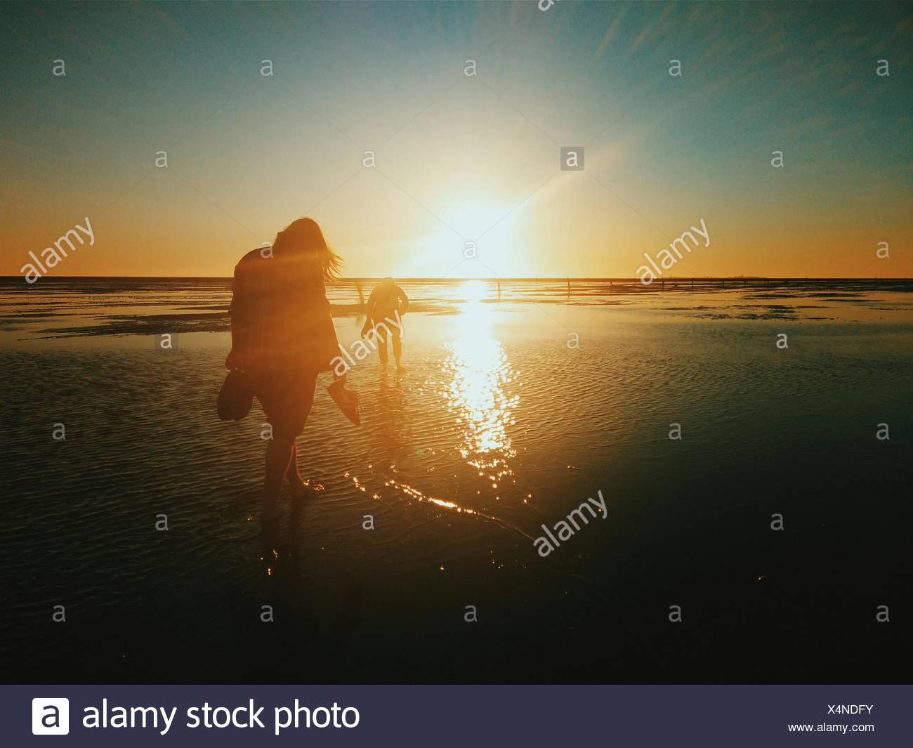 Silhouette People Walking On Beach At Sunset - Stock Image