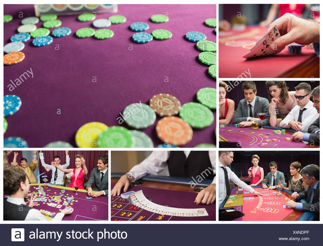 Collage of casino imagery - Stock Image