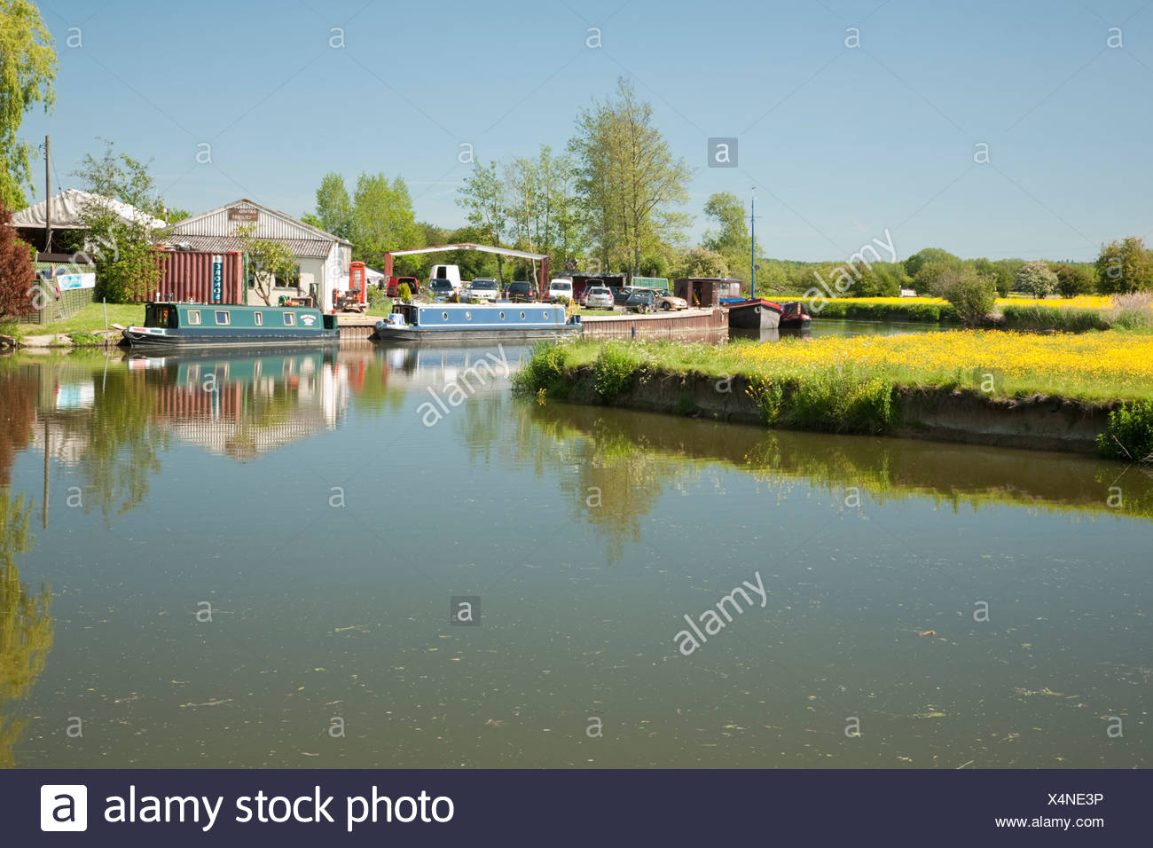 Boatyard on the River Thames upstream of Oxford Uk - Stock Image
