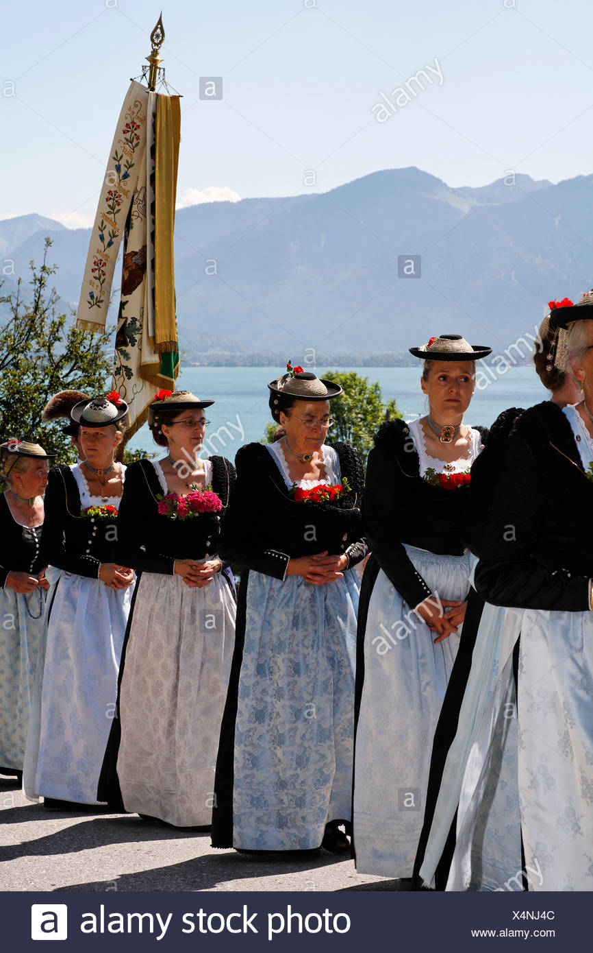 Feast of Corpus Christi procession in Gmund at Tegernsee lake, Upper Bavaria Germany - Stock Image