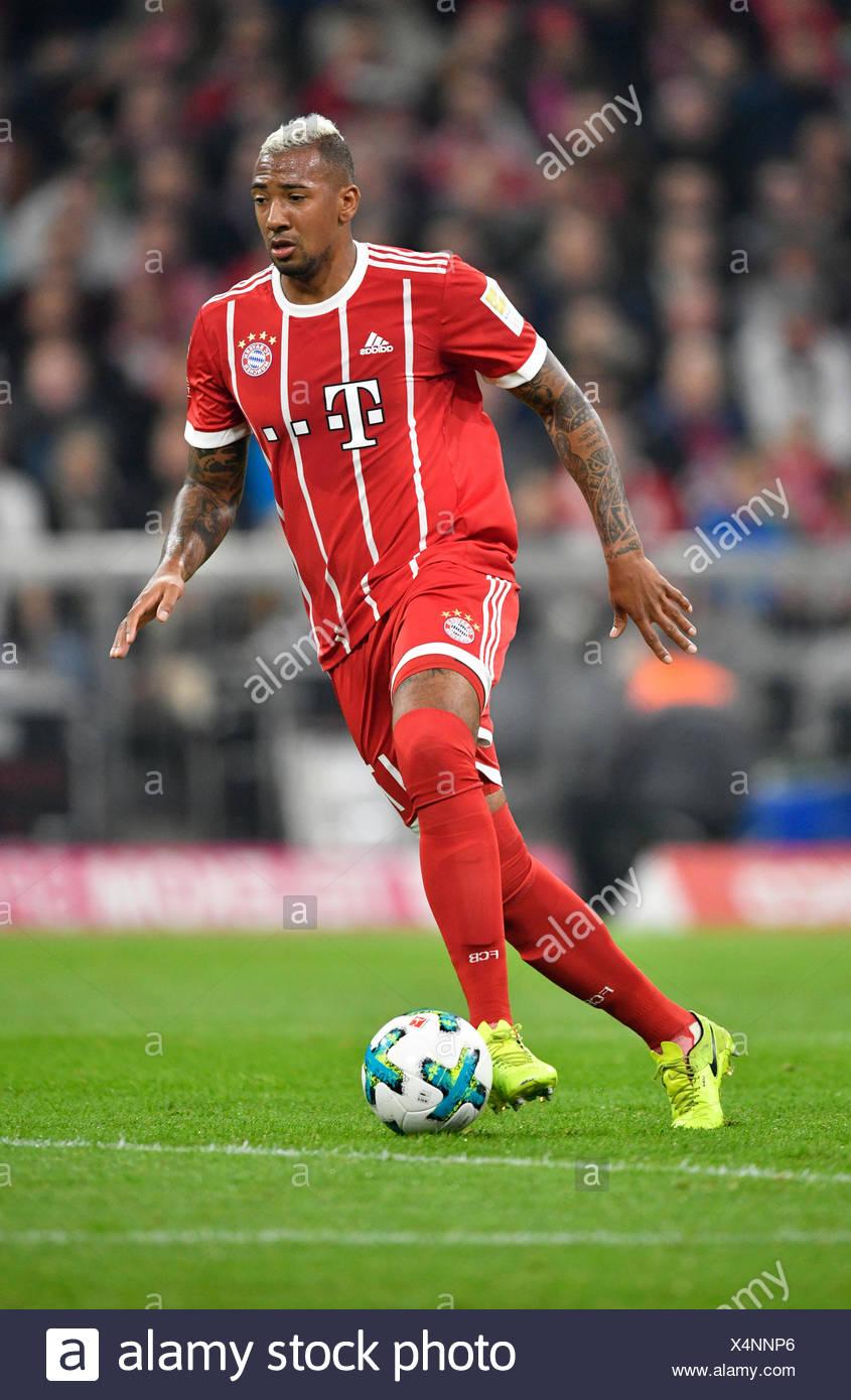 Jerome Boateng am Ball, FC Bayern Munich, Allianz Arena, Munich, Upper Bavaria, Bavaria, Germany - Stock Image