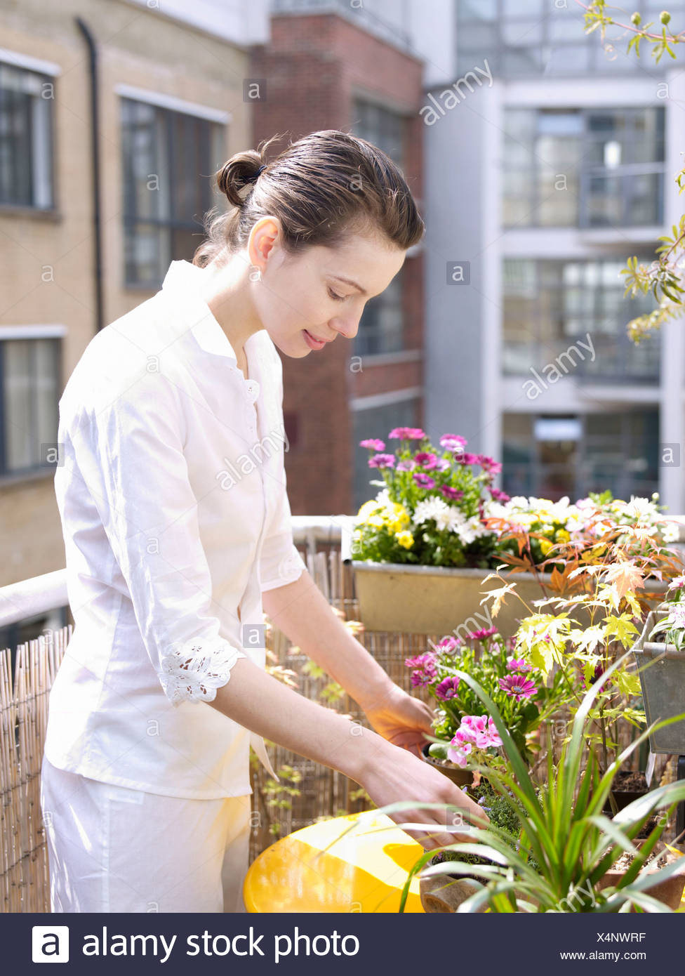 Woman on balcony with flowers - Stock Image