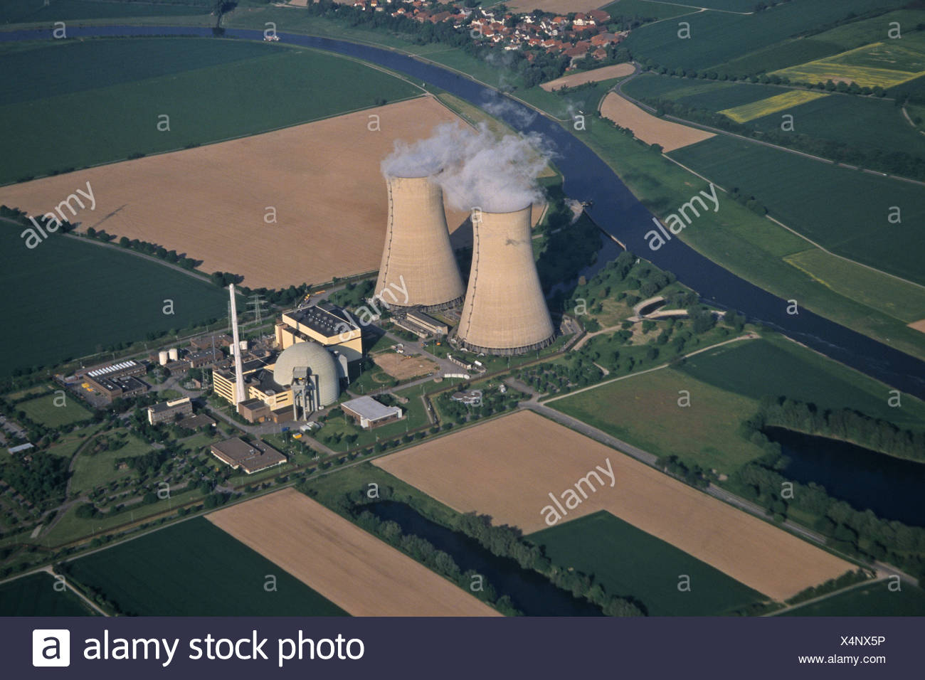 aerial photo nuclear power plant Grohnde in Lower Saxony, Germany - Stock Image