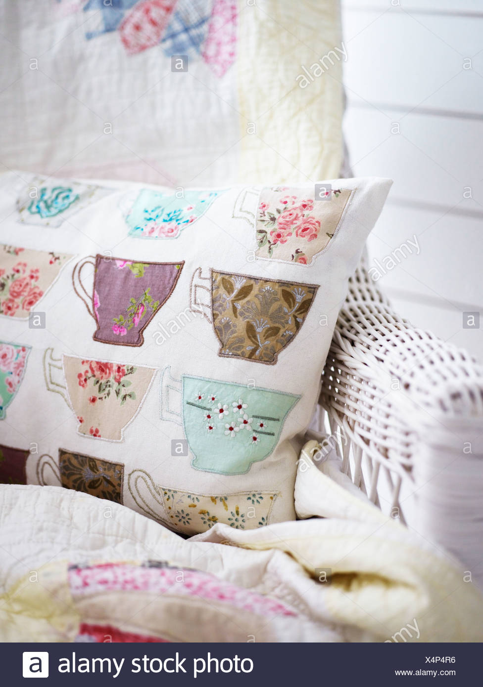 Scandinavia, Sweden, Stockholm, Pillow with cup print, close-up - Stock Image
