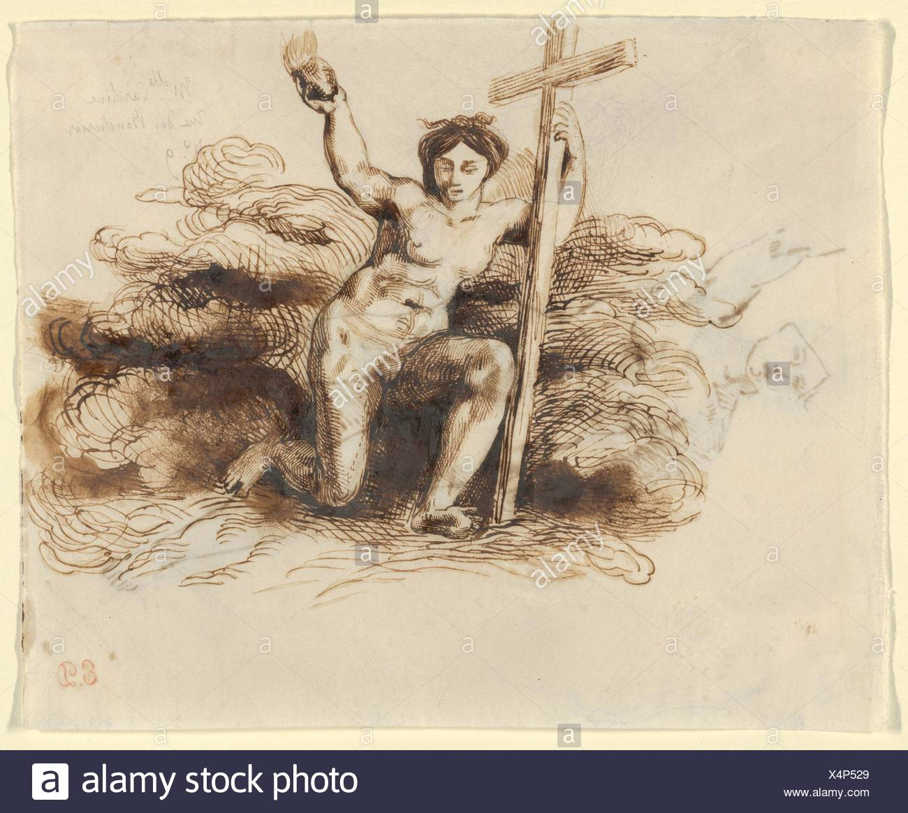 The Figure of Religion, Half-Seated with Right Arm Raised (recto); The Figure of Religion, Kneeling, Holding a Cross and a Flaming Heart (verso). - Stock Image
