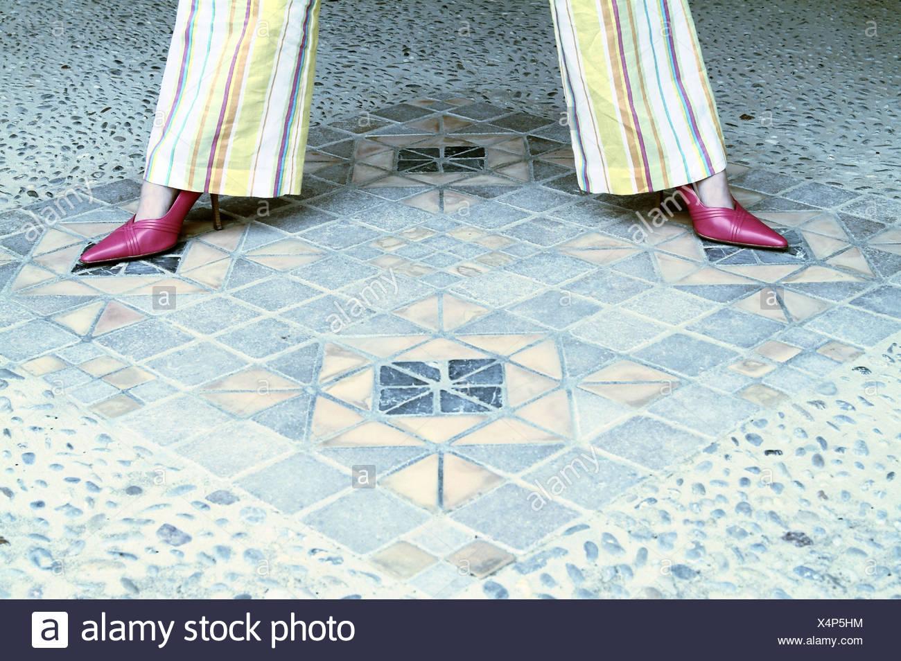 Mosaic floor, woman, detail, Legs, stripe pants, pump, stands ...