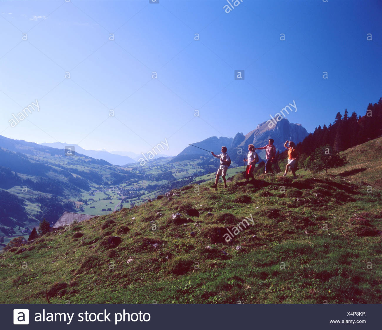 Switzerland Europe Alt St.Johann Canton St.Gallen Toggenburg hikers hiker hiking four persons group Landscap - Stock Image