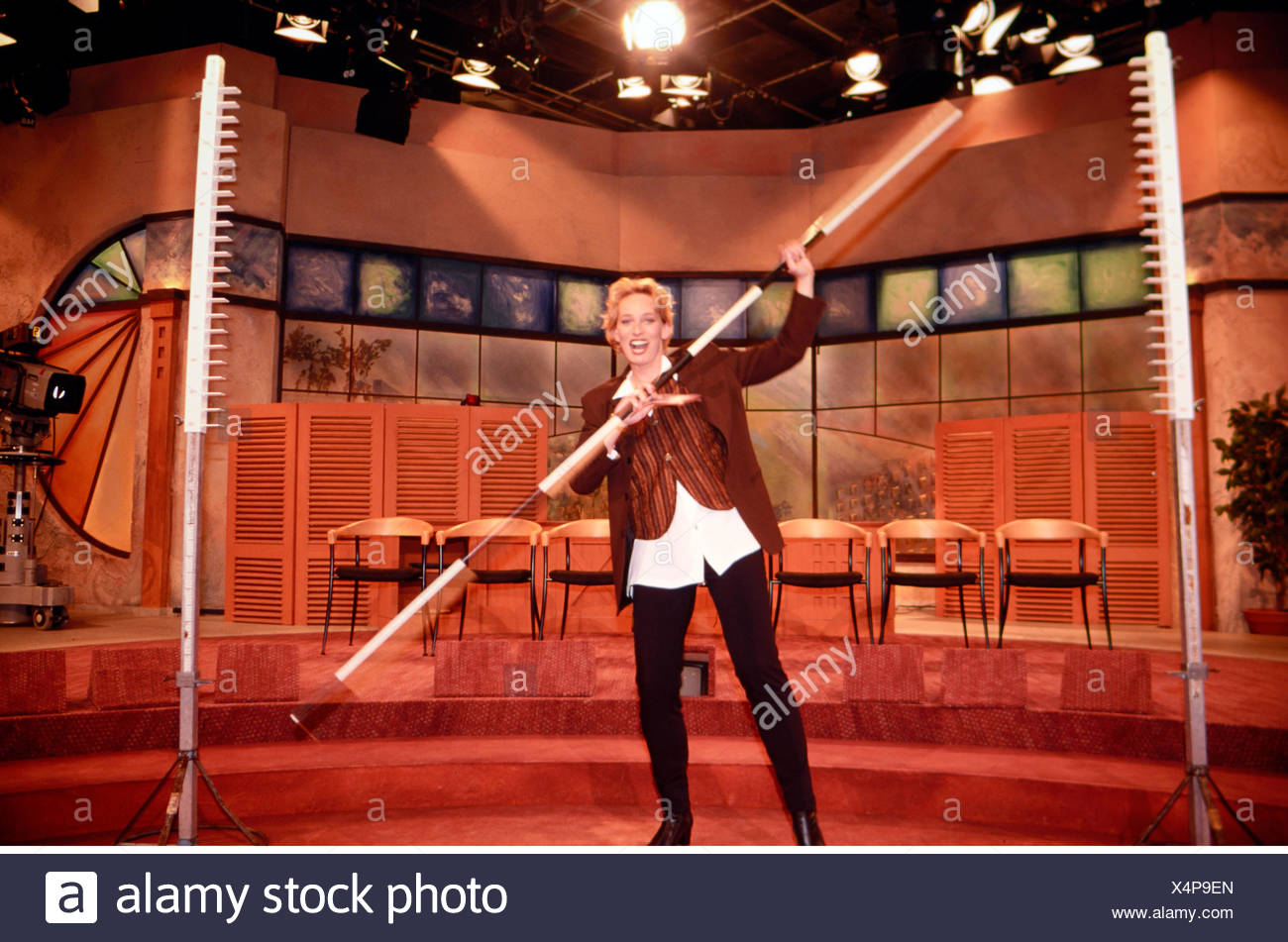 Schaefer, Baerbel, * 16.12.1963, German presenter, half length, during the recording of the 250th episode of her eponymous TV show, 6.11.1996, Additional-Rights-Clearances-NA - Stock Image