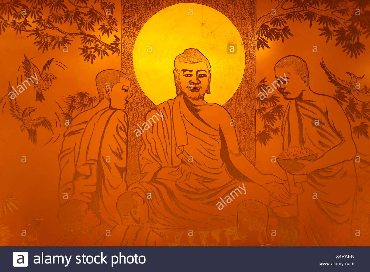 Artwork, Buddha with a halo, gold colors, carved in metal, Zhengzhou, Henan Province, China - Stock Image