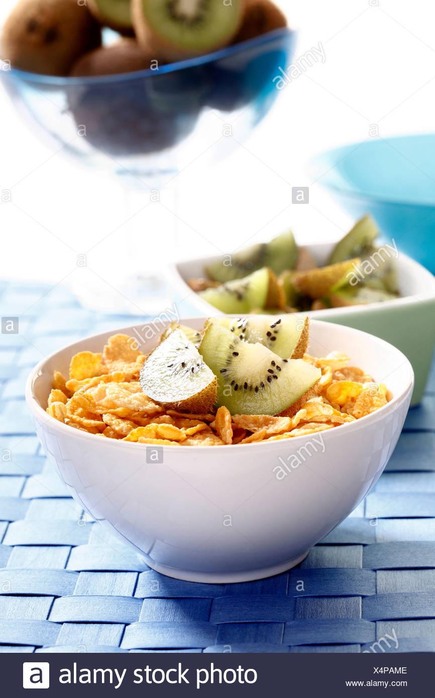 Cornflakes with kiwi slices Stock Photo