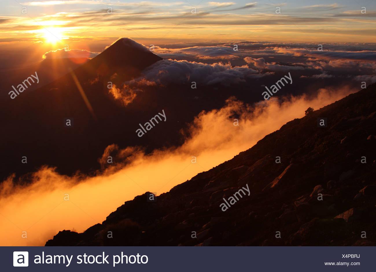 Guatemala, Acatenango volcano with sunrise - Stock Image