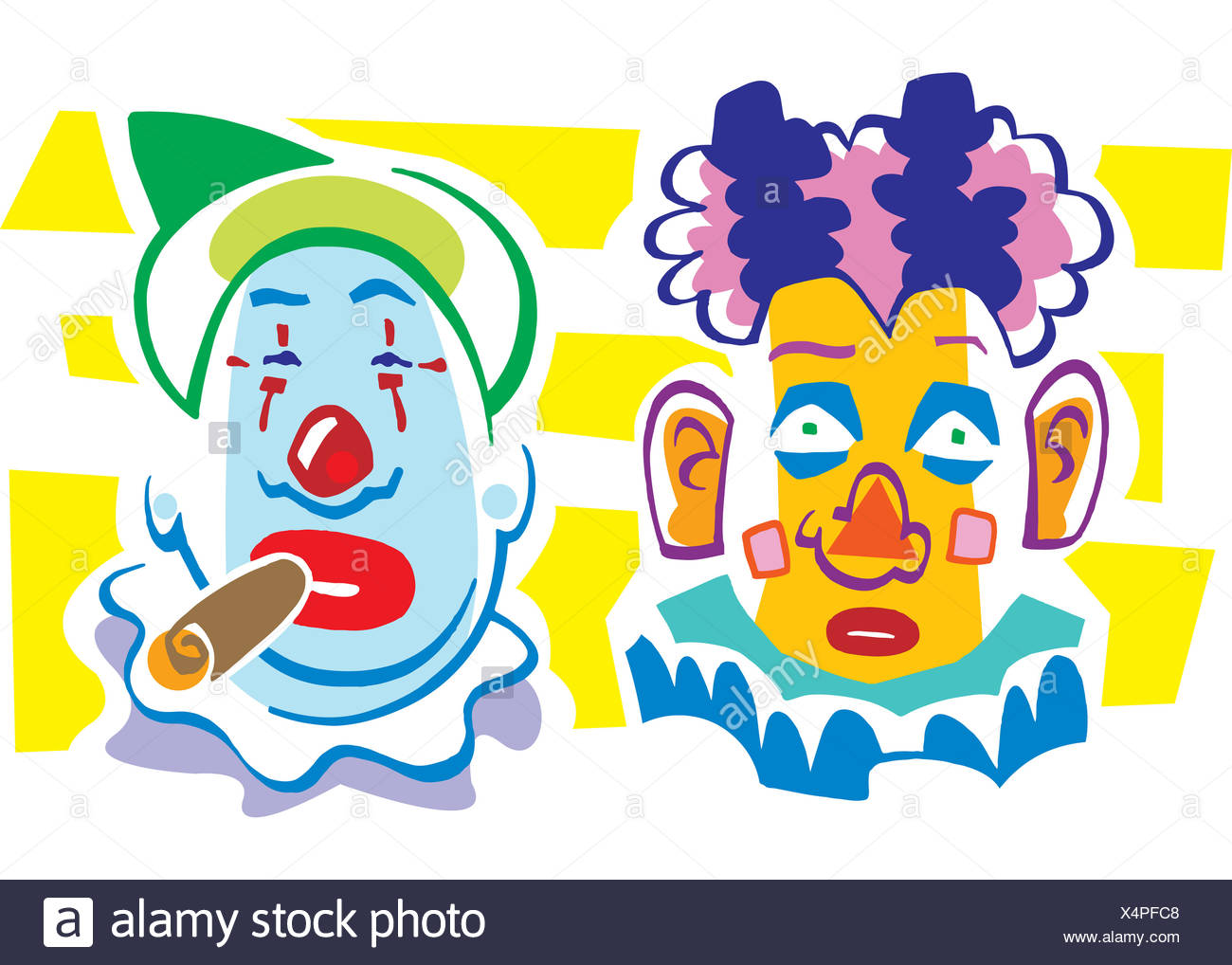 Two colorful clowns with painted faces, one smoking a cigar - Stock Image