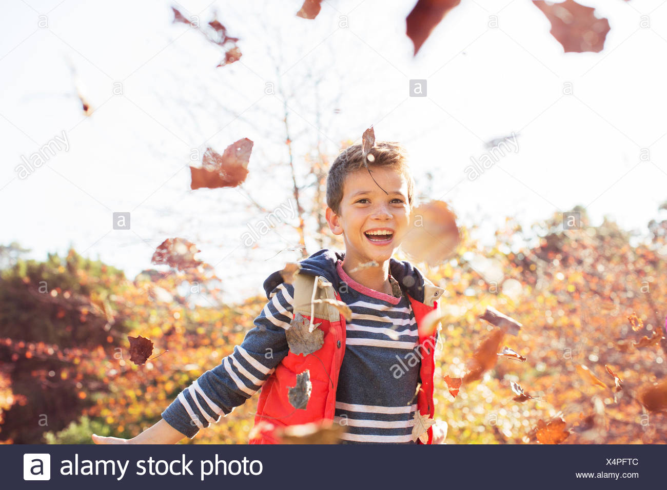 Portrait of enthusiastic boy throwing autumn leaves - Stock Image