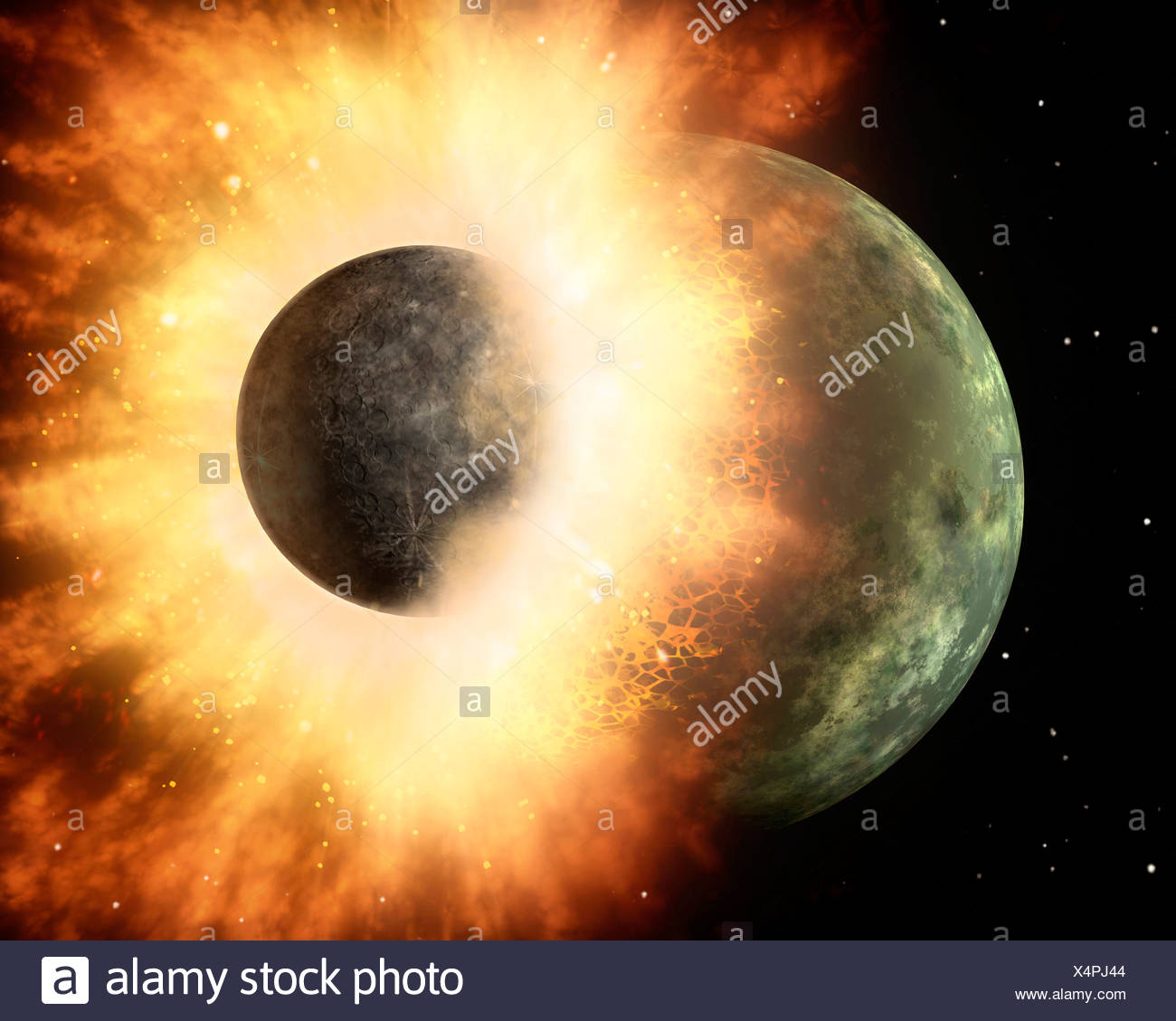 This artist's concept shows a celestial body about the size of our moon slamming at great speed into a body the size of Mercury - Stock Image