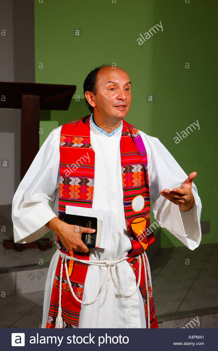 Priest preaching during Sunday school, Fortaleza, Ceará, Brazil, South America - Stock Image
