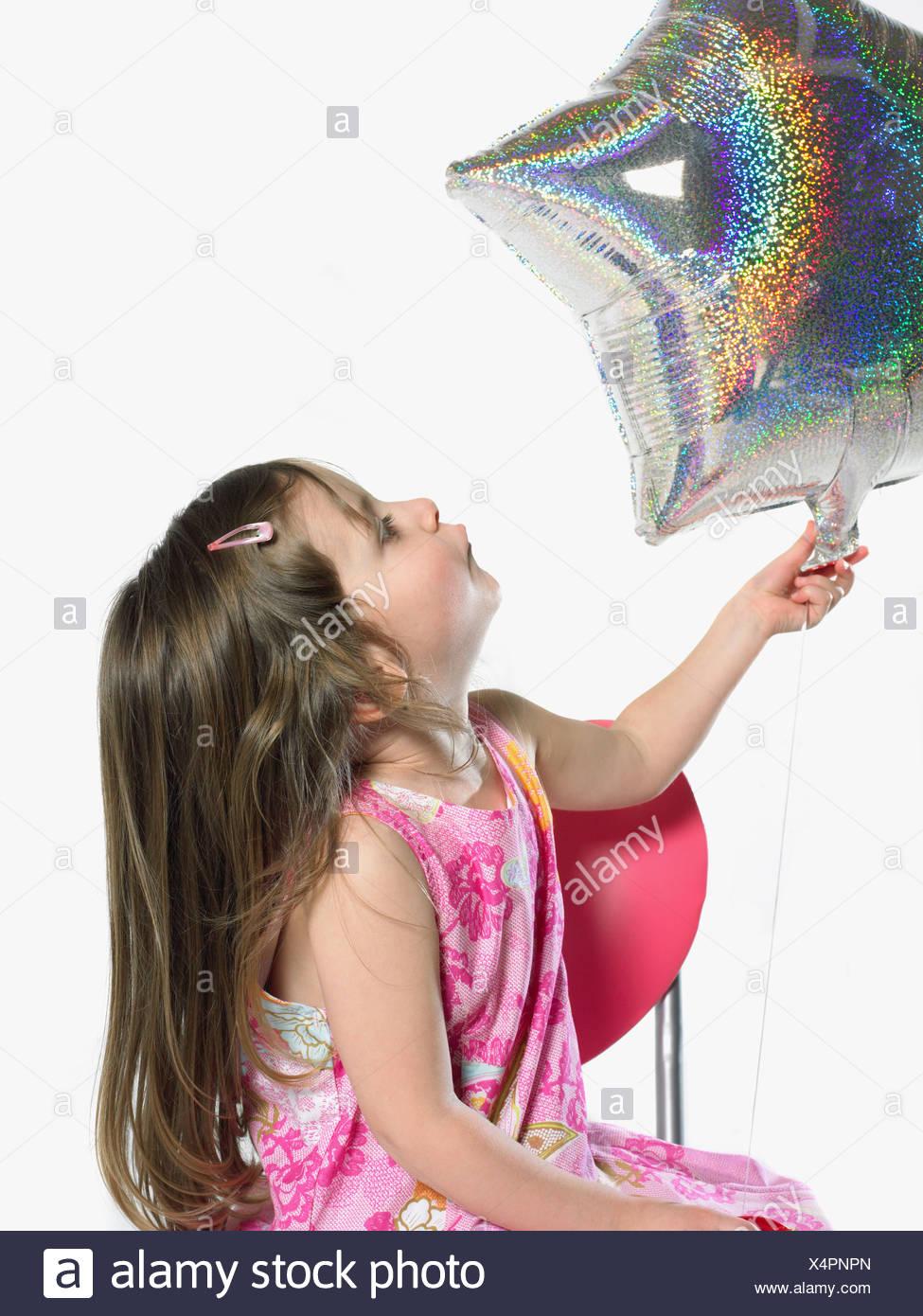 Girl with balloon - Stock Image