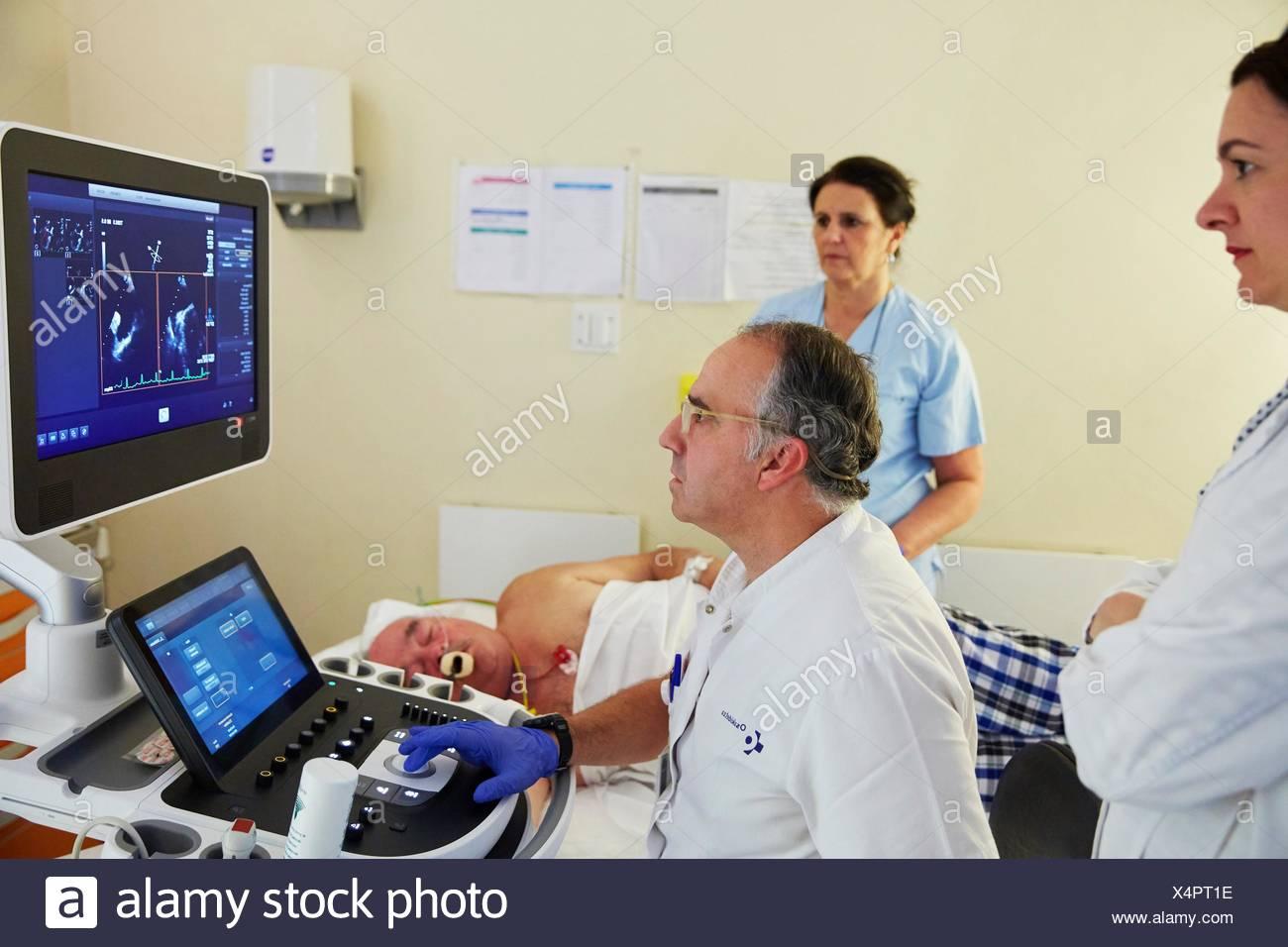 3D cardiac ultrasound, Hospital Donostia, San Sebastian, Gipuzkoa, Basque Country, Spain - Stock Image