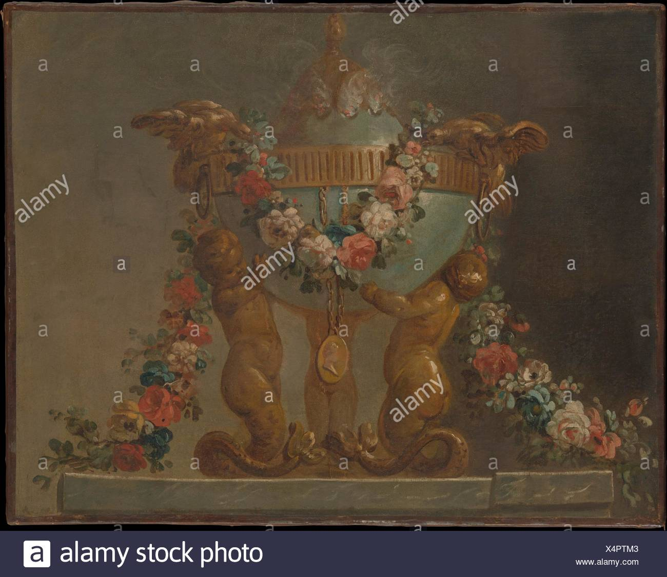 Perfume-burner supported by baby tritons and garlanded with flowers. Artist: French Painter , 18th century; Date: 18th century; Culture: French; - Stock Image