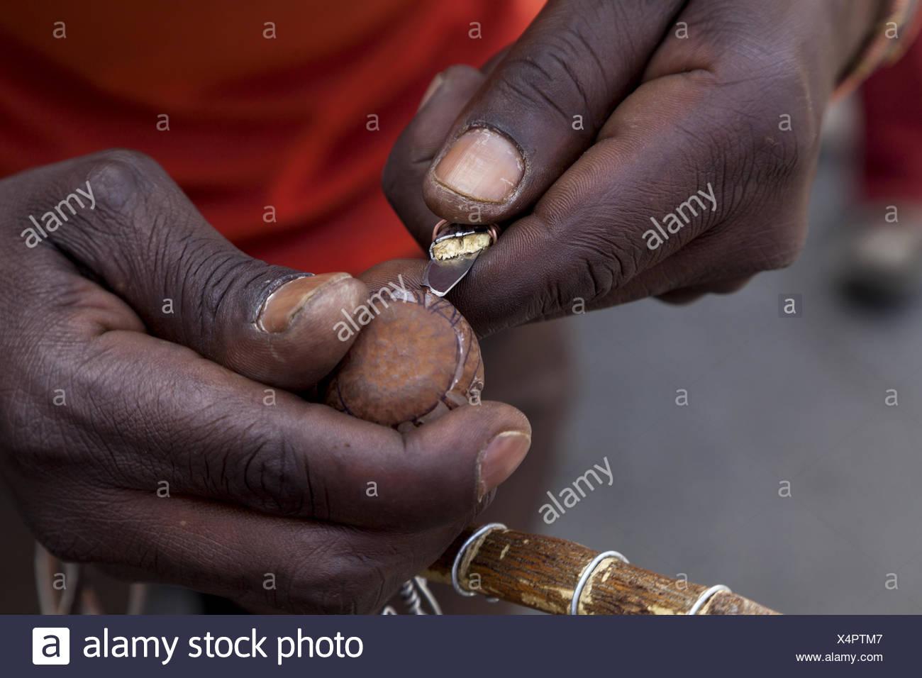 Makalani Nut Schnitzer in Windhoek - Stock Image