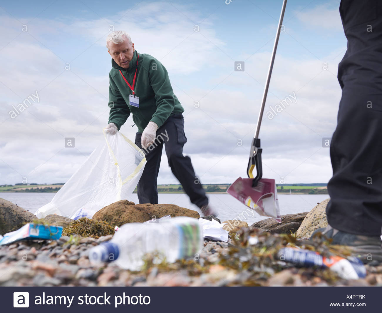Environmentalist cleaning up beach - Stock Image