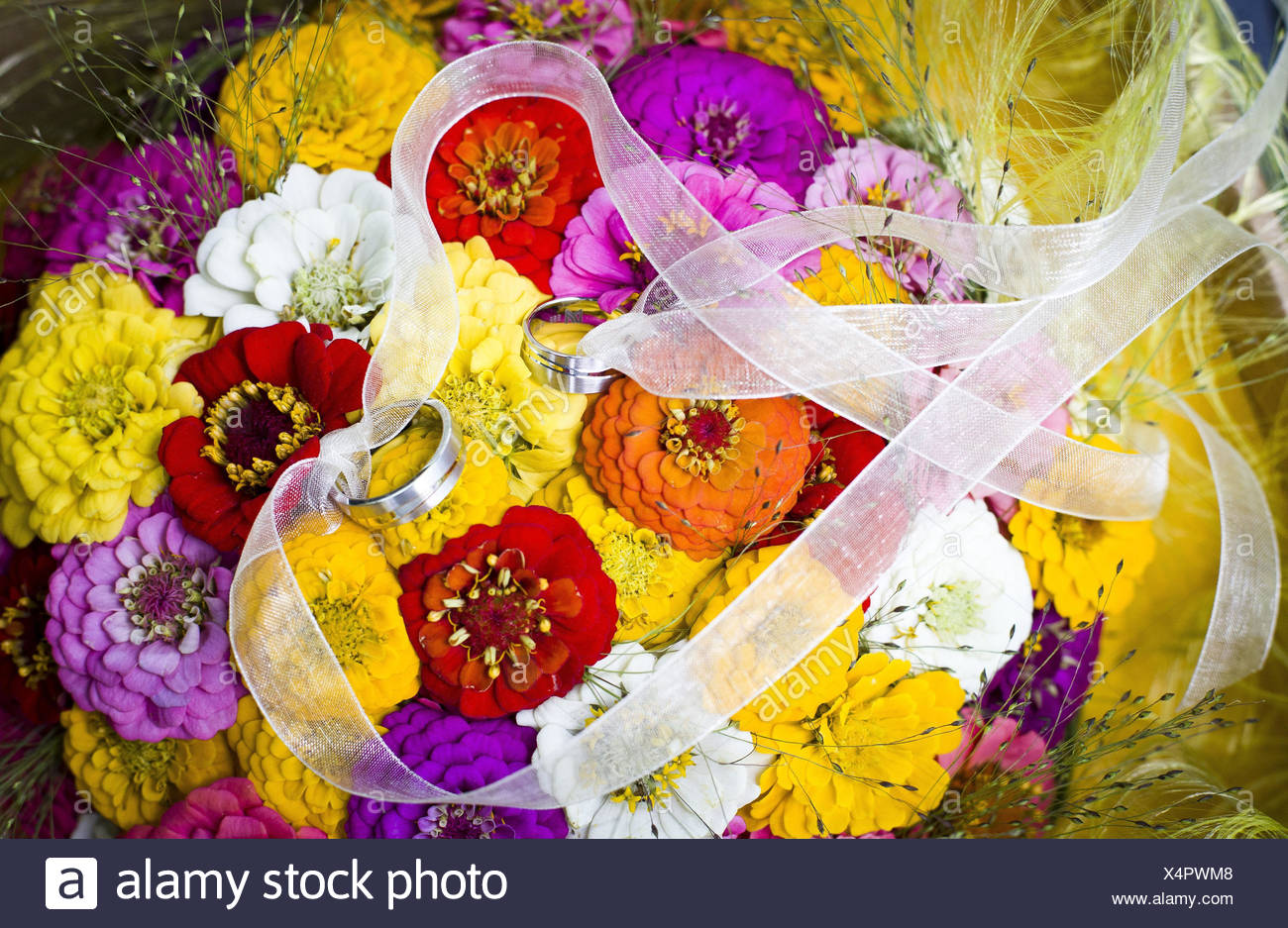 Wedding, flower bouquet with rings, - Stock Image