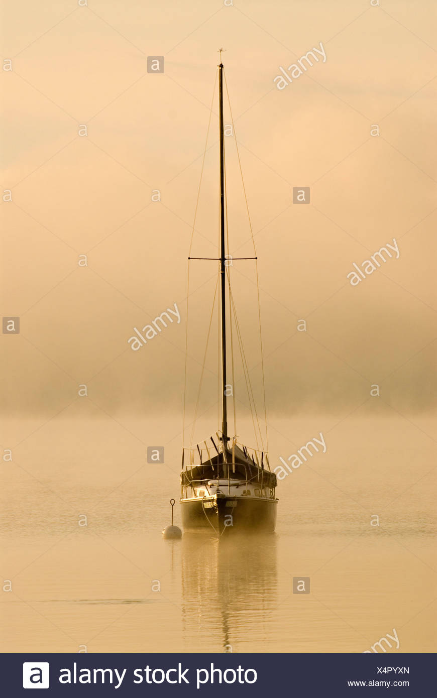 Sailing boat and fog at the southern end of Ammersee lake in Diessen, Bavaria, Germany, Europe Stock Photo