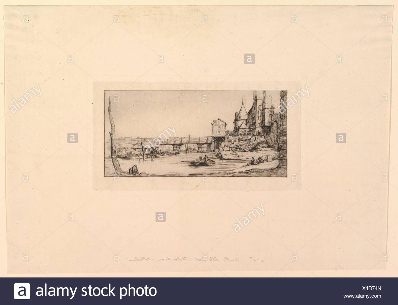 Passerelle du Pont-au-Change, après l'incendie de 1621 (The Footbridge temporarily replacing the Pont-au-Change, Paris, after the fire of 1621, after - Stock Image