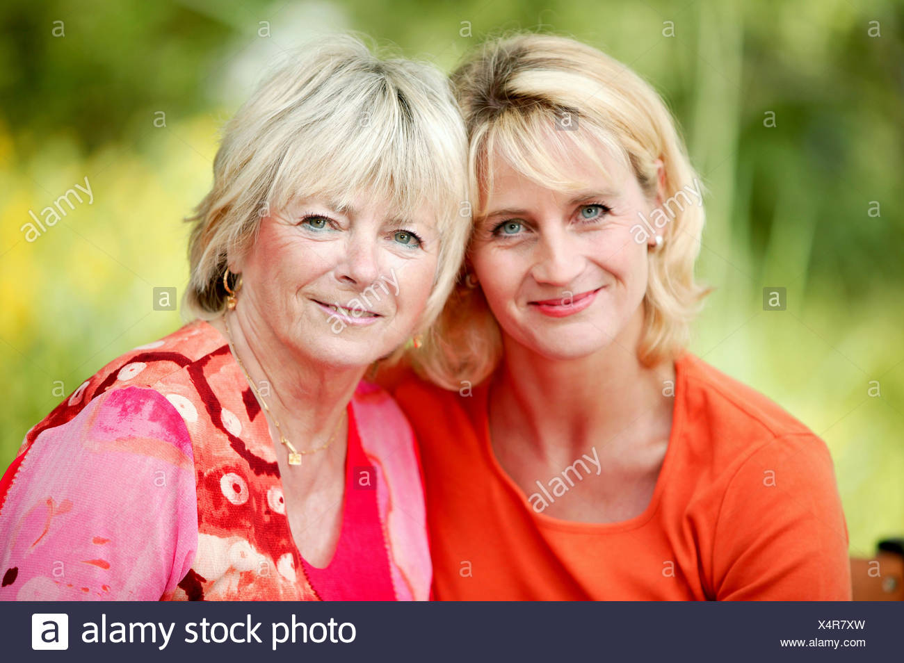 grown-up daughter with mother Stock Photo