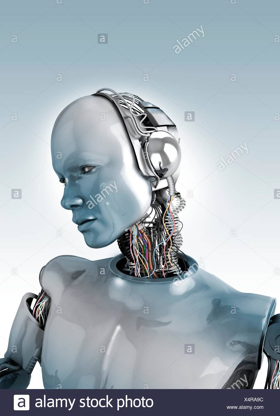 Robot with wires in neck, illustration Stock Photo: 278337512 - Alamy