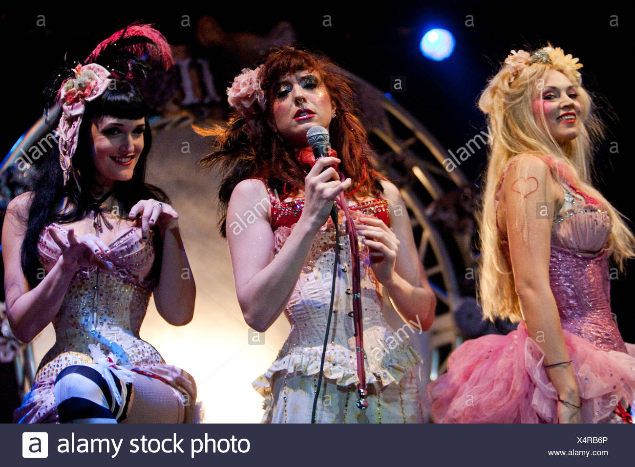 Singers and dancers from Emilie Autumn's live show at her only Swiss concert in Club Haerterei in Zurich, Switzerland, Europe - Stock Image