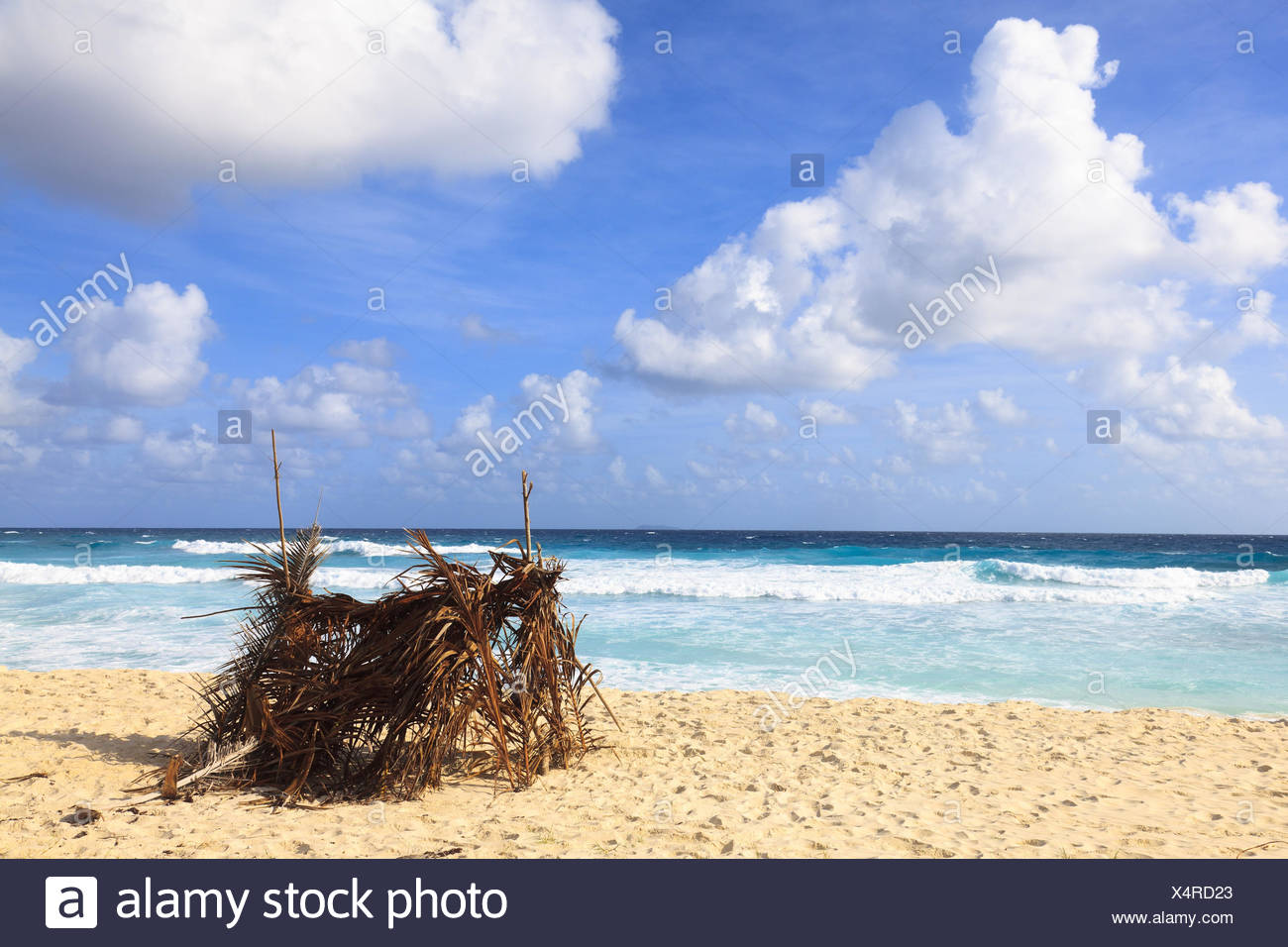 The Seychelles, sunscreen steelworks in the Grand Anse, - Stock Image