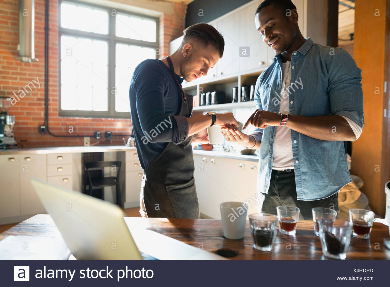 Entrepreneurial coffee roasters examining beans in kitchen - Stock Image