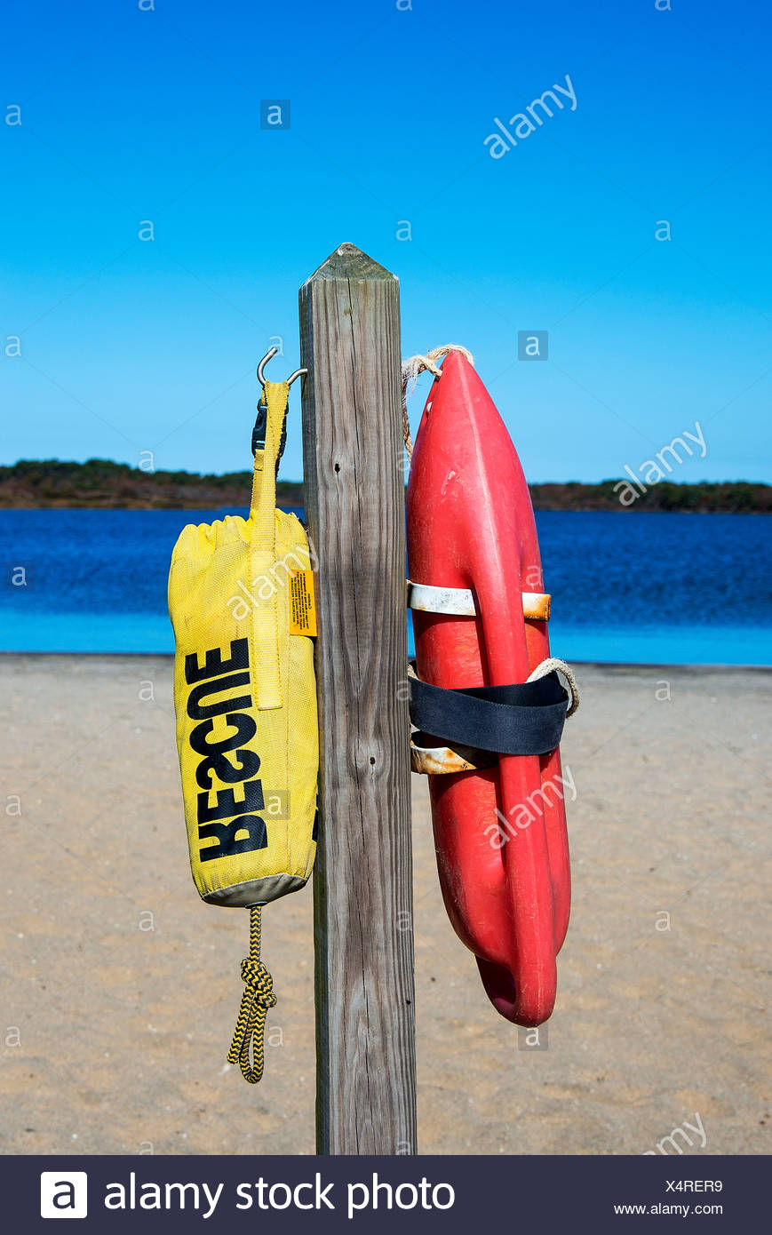 Rescue floats at a beach, Massachusetts, USA - Stock Image