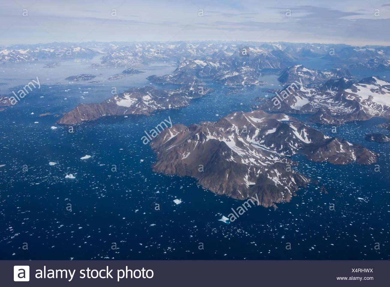 Icebergs, Atlantic, East Greenland, Greenland, sea, mountains, sea - Stock Image