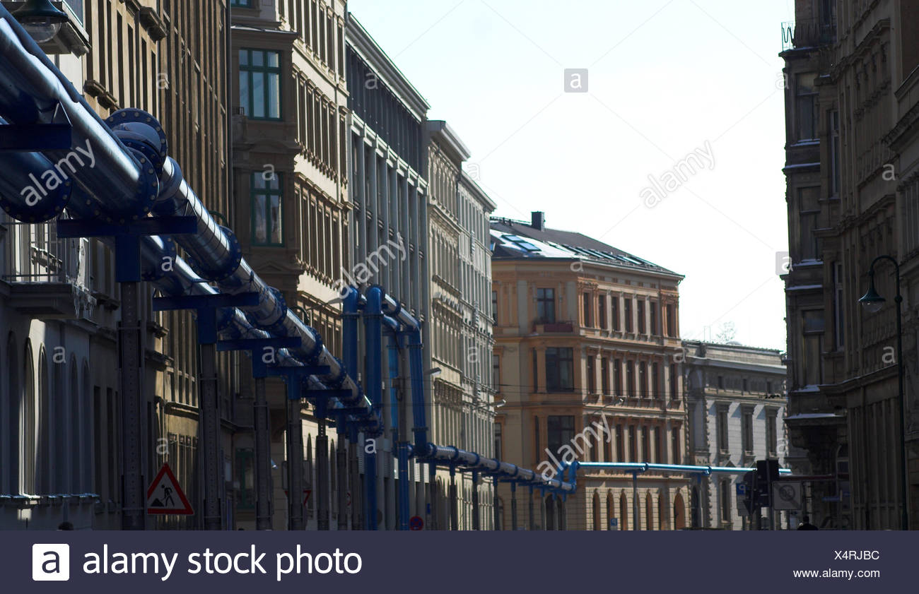 blue,tunnel,Leipzig,tube,drainage,tunnelling,pipe system,pipe - Stock Image