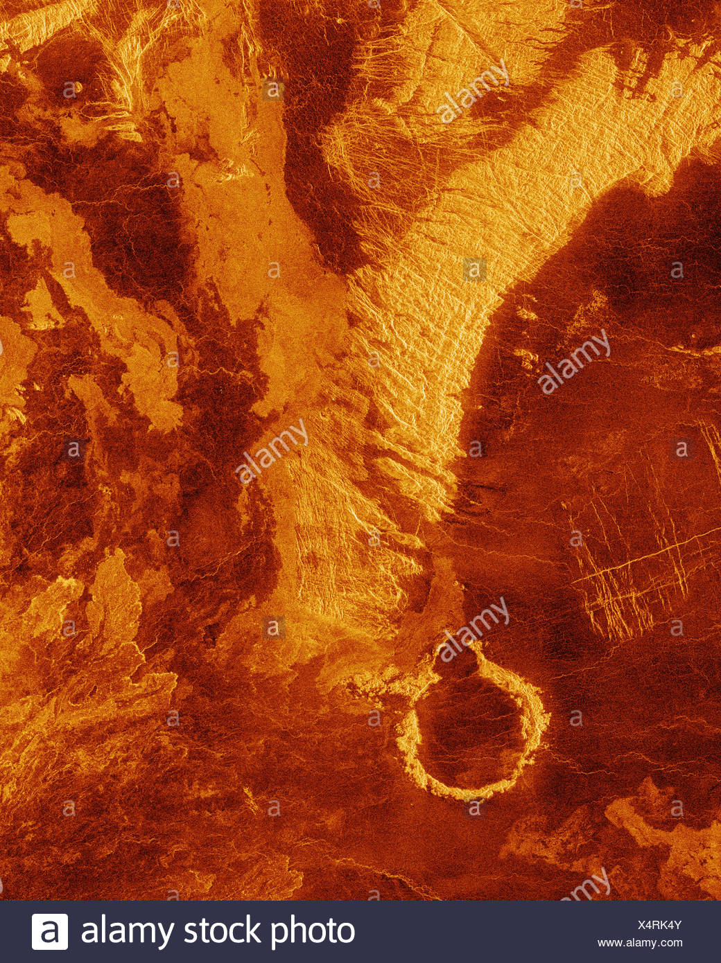 Plains and Impact Crater on Venus Seen by Magellan (Digitally Generated) - Stock Image