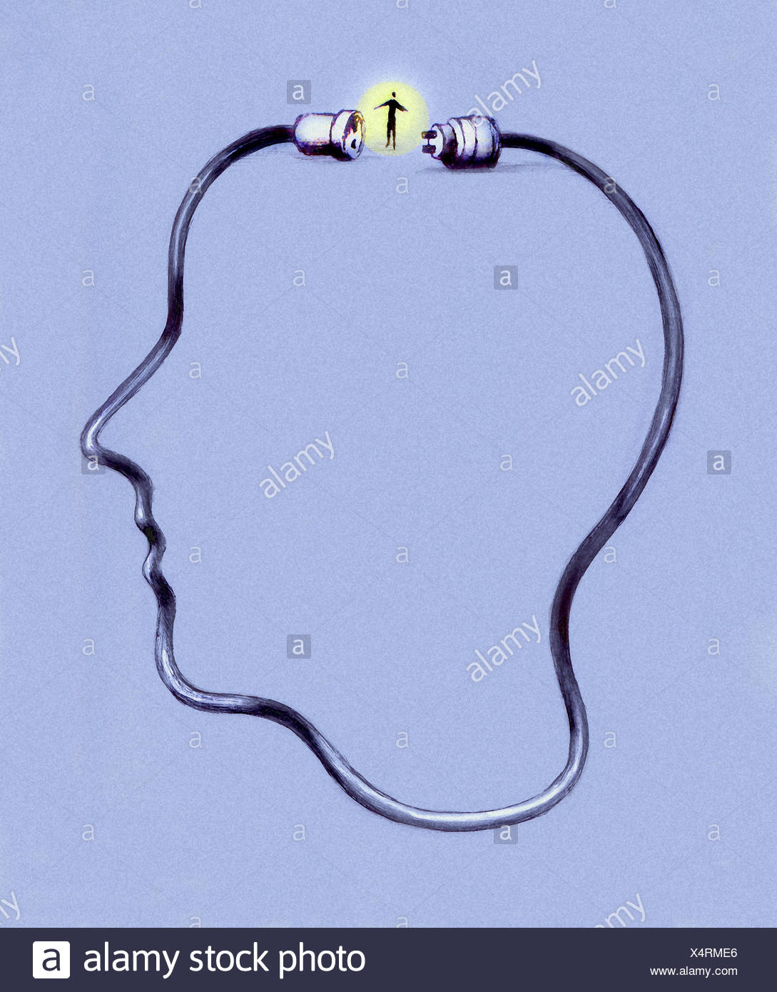 Plug and socket on electric cable completing profile of man's head - Stock Image