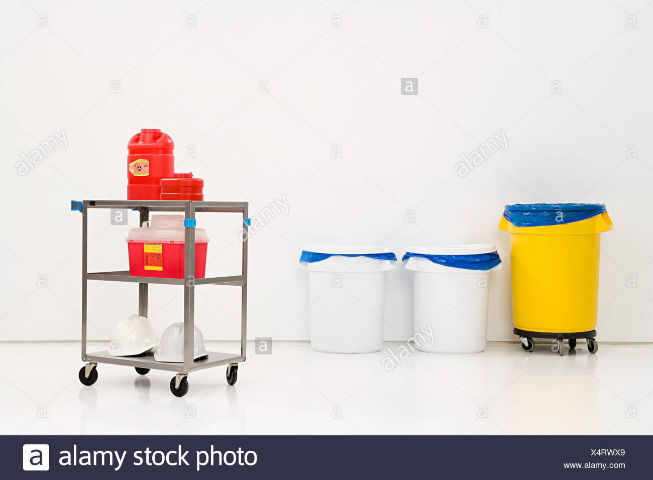 Chemical waste and bins - Stock Image
