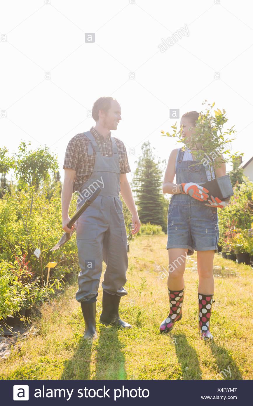 Gardeners conversing at plant nursery - Stock Image