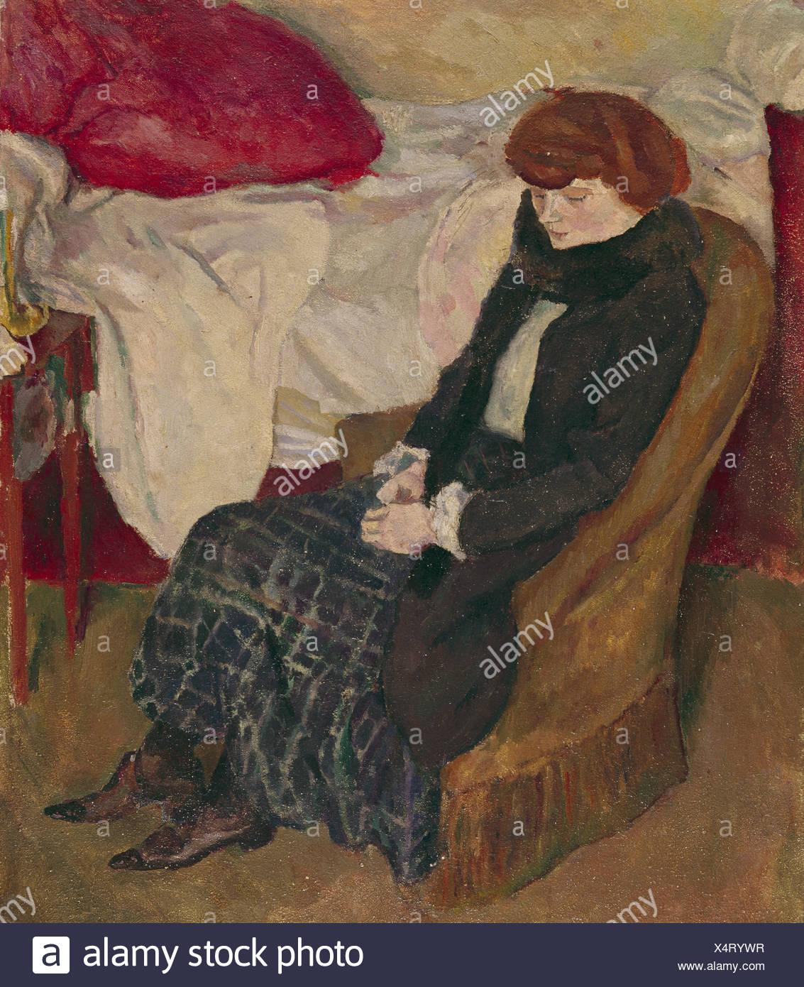 "fine arts, Pascin, Jules (1885 - 1930), ""Poverty"", Saarlandmuseum, Saarbrucken, impressionism, woman, 20th century, Stock Photo"