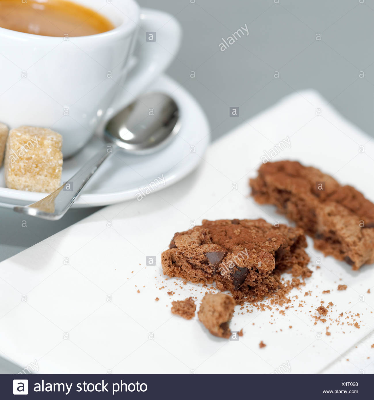 A cup of Espresso and chocolate cookies, detail - Stock Image